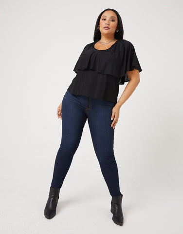 Curve Layered Ruffle Top
