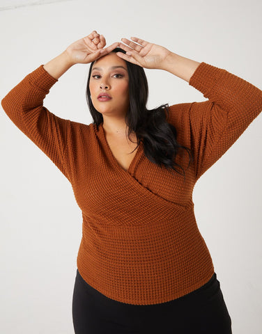Curve Surplice Knit Top