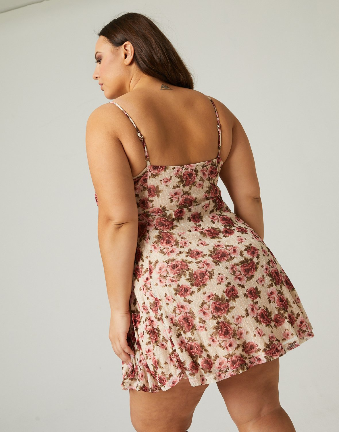 Curve Floral Sweetheart Dress