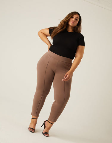 Curve Front Seam Stretch Pants