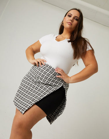Curve Houndstooth Skirt With Slit