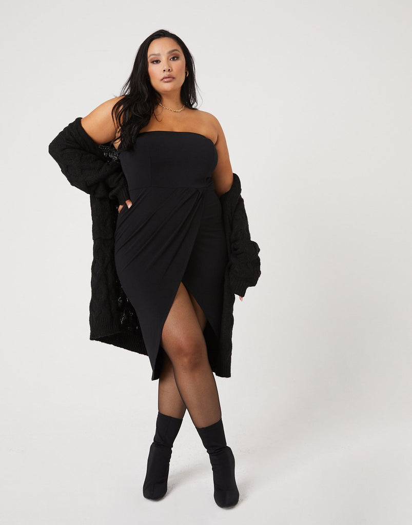 Curve High Slit Strapless Dress
