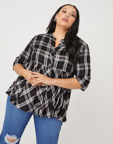 Curve Plaid Baby Doll Blouse