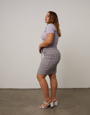 Curve Plaid Pencil Skirt
