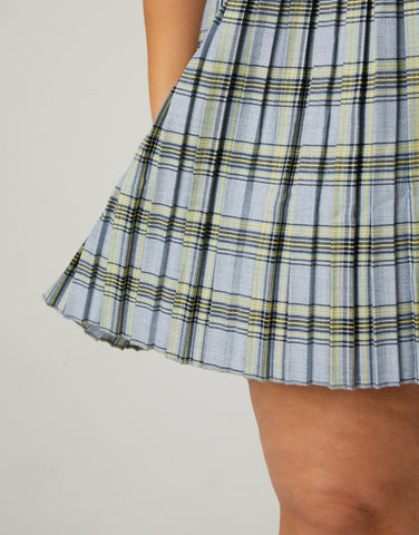 Curve Plaid Pleated Skirt