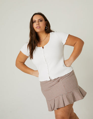 Curve Pleated Hem Skirt