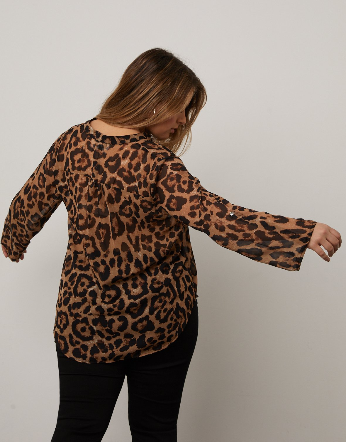 Curve Sheer Leopard Print Top