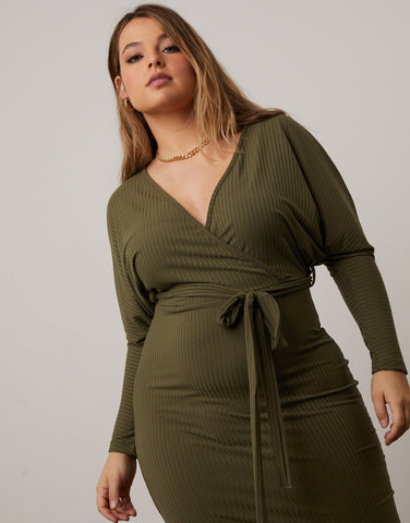 Curve Surplice Knit Dress