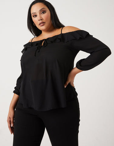 Curve Ruffled Off-The-Shoulder Top