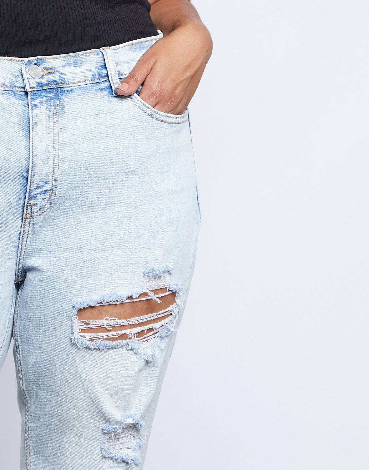 Curve Emmy Distressed Mom Jeans