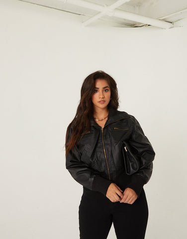 Curve Faux Leather Bomber Jacket