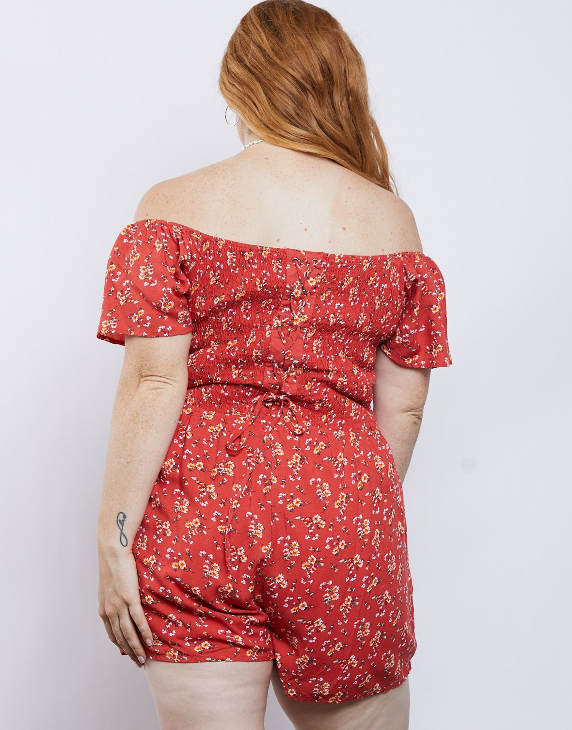 Curve Laced Up Floral Romper