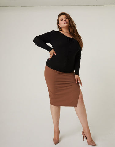 Curve Bodycon Skirt With Slit
