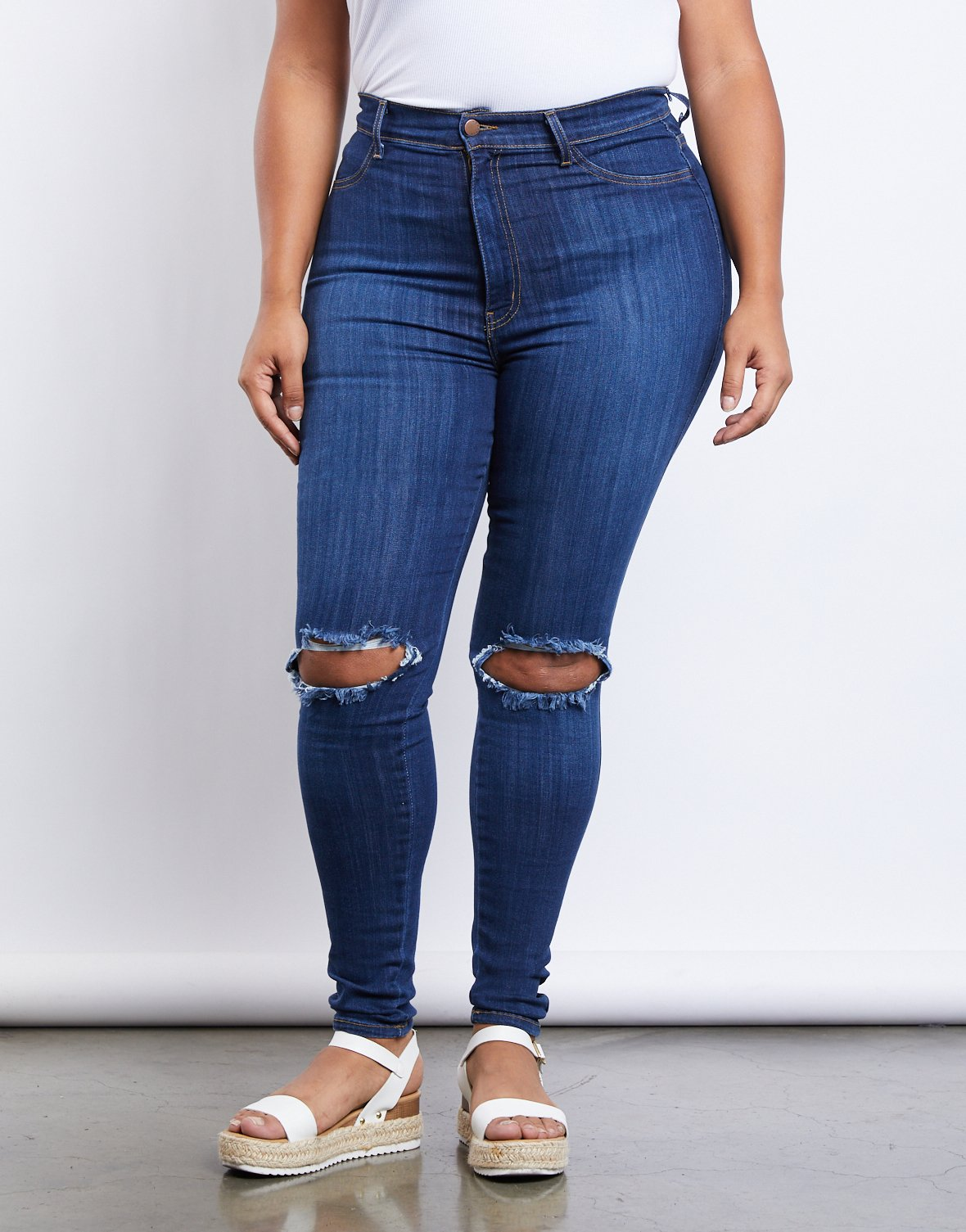 Curve Ripped Knee Skinny Jeans
