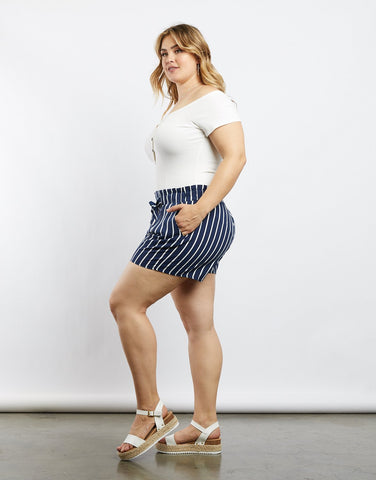 Curve Alice Pinstriped Shorts