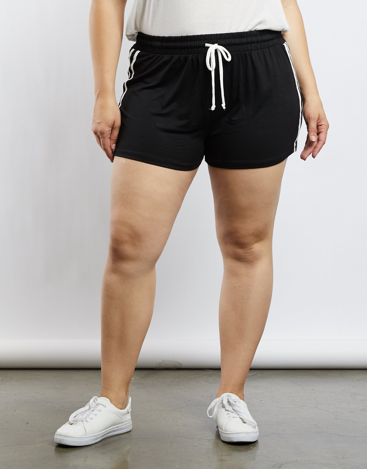Curve Lacy Striped Sporty Shorts