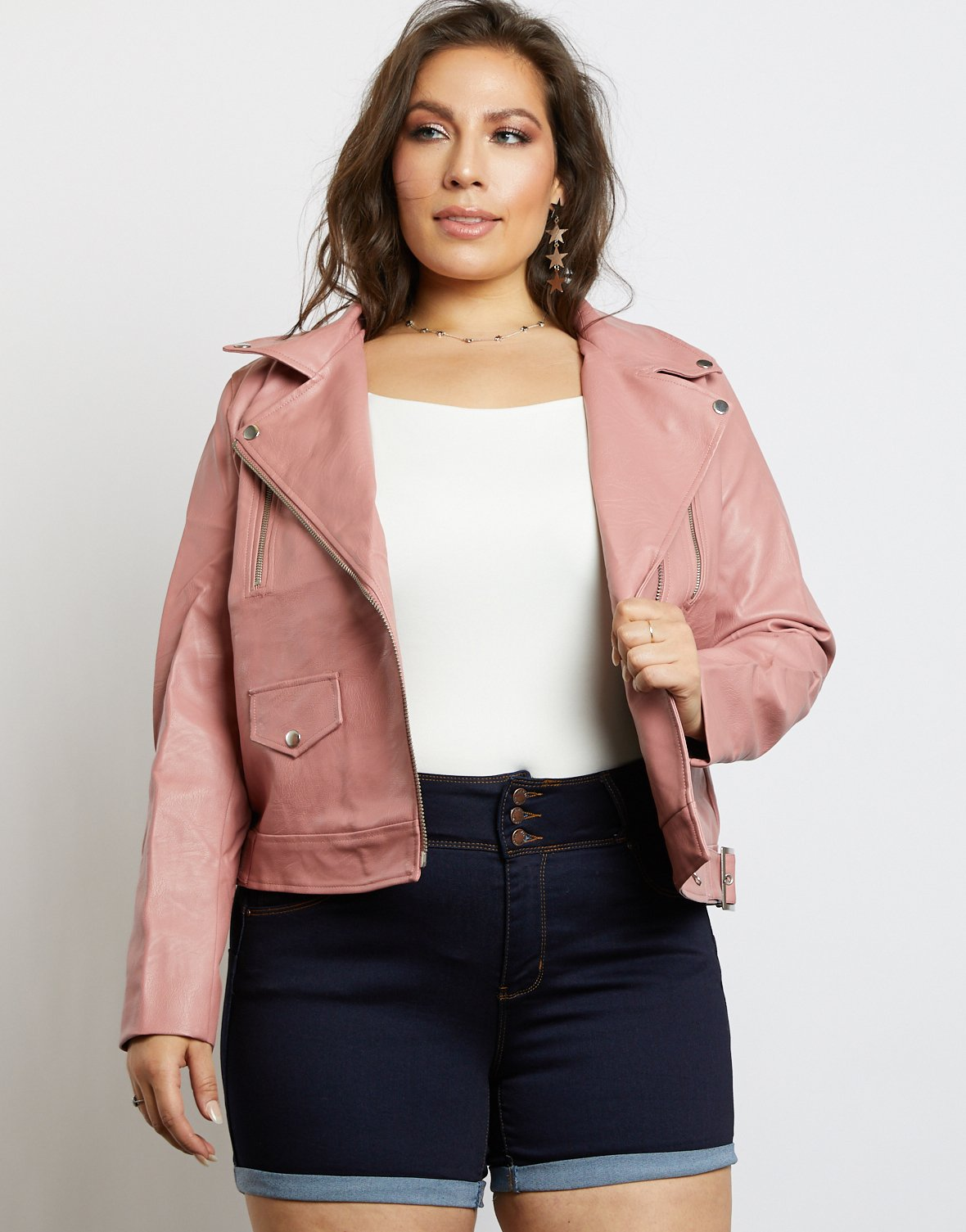 Curve Leather Biker Jacket