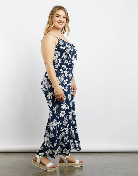 newest online retailer meticulous dyeing processes Plus Size Reyna Floral Jumpsuit