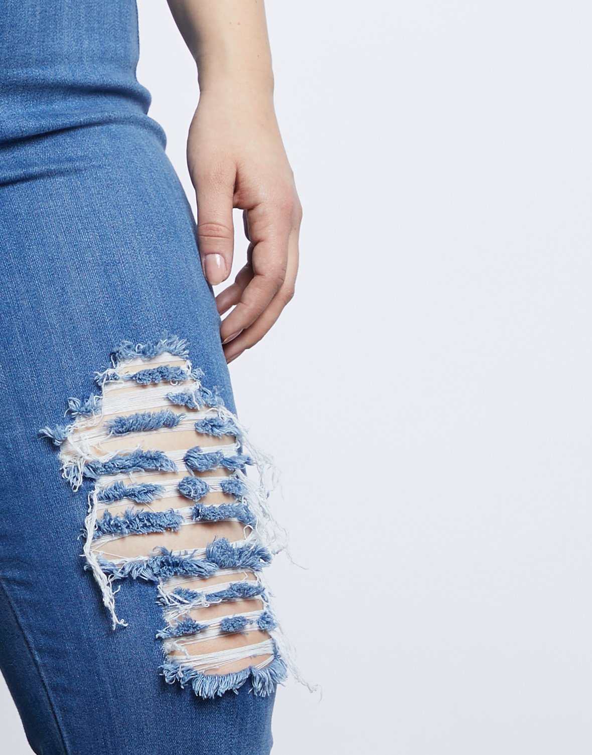 Curve Ripped Blue Jeans