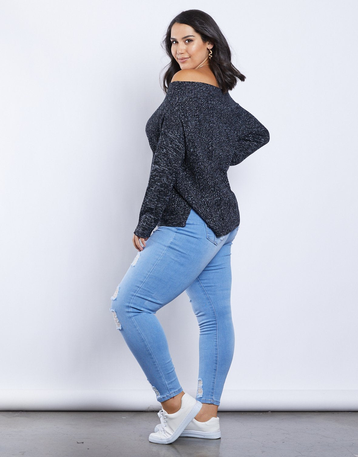 Curve Sandra Off-The-Shoulder Sweater