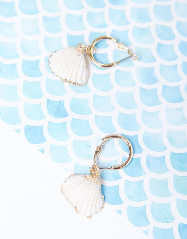 Golden Shell Hoop Earrings