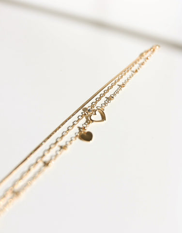 Triple Layer Heart Anklet