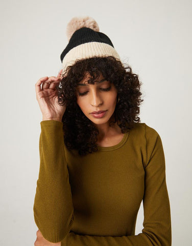 Two-Tone Ribbed Hat