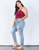 Light Blue Denim Plus Size Fun Frayed Jeans - Side View