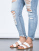 Light Blue Denim Plus Size Fun Frayed Jeans - Detail