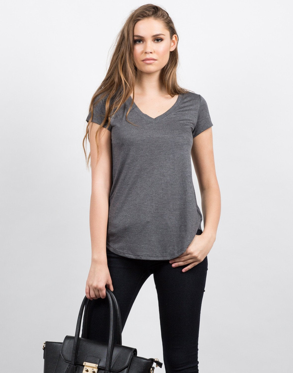 Front View of Soft V-Neck Tee