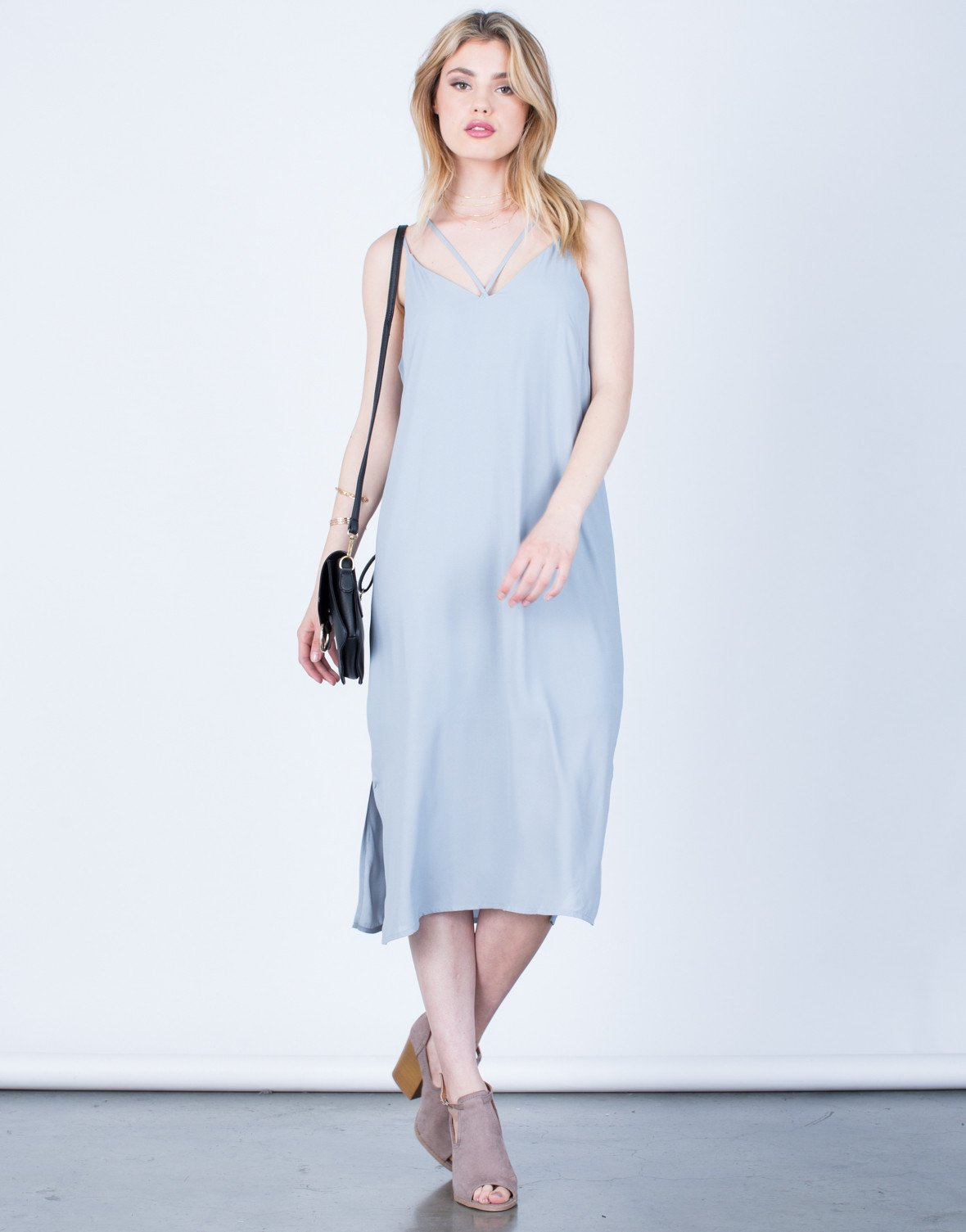 Front View of Strappy V-Neck Midi Dress