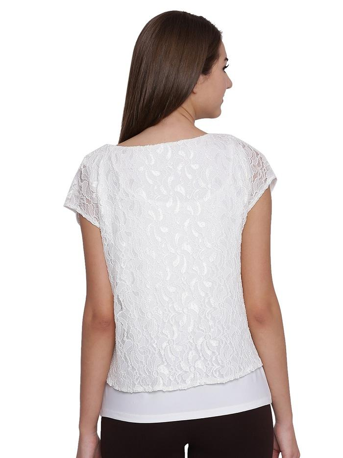SOLID LACE OVERLAY TOP
