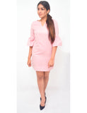 Pink Ruffled Sleeve Dress