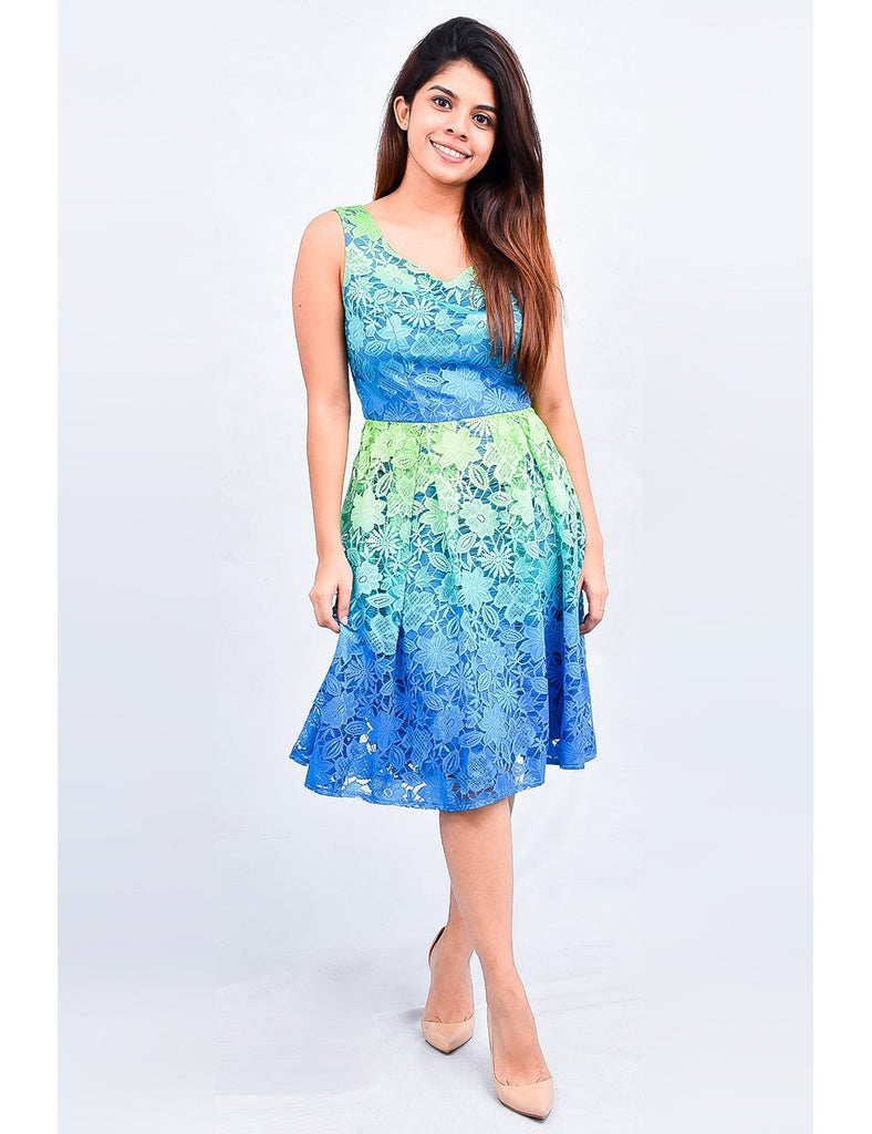 Blue and Green Floral Lace Dress