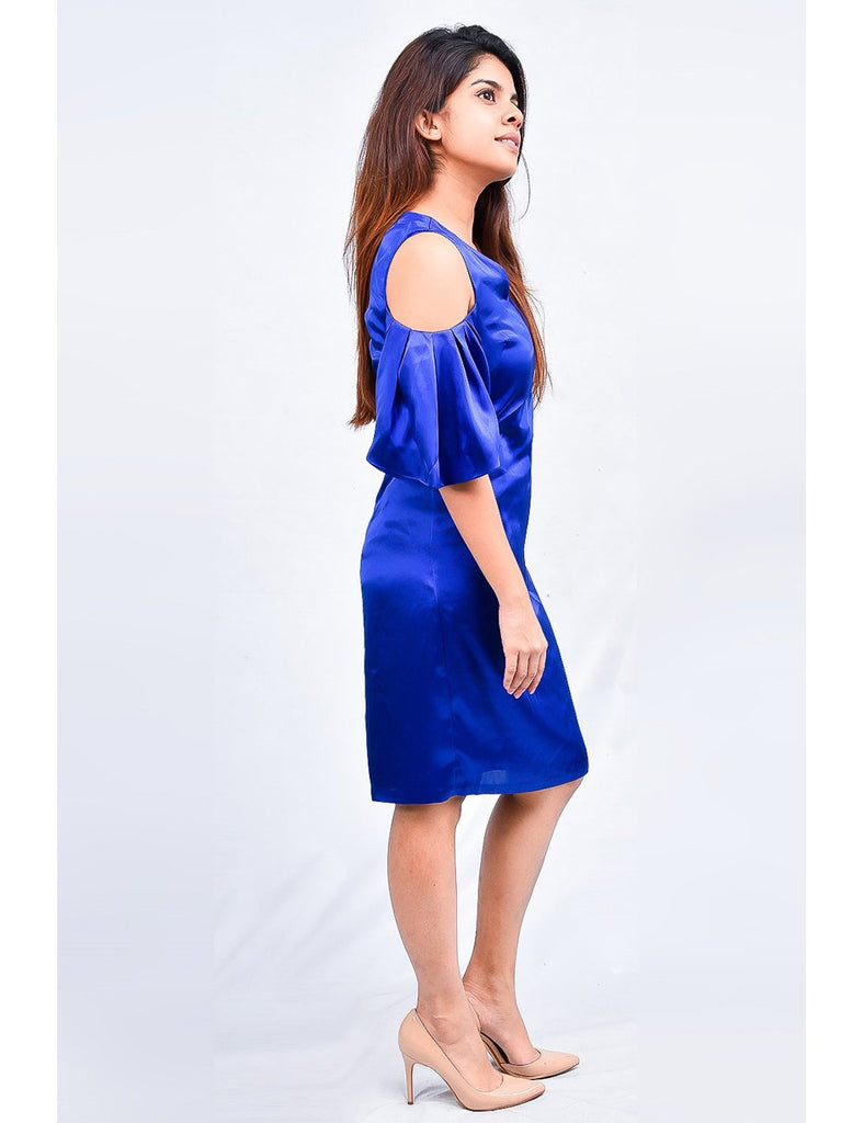 Blue Open Shoulder Dress