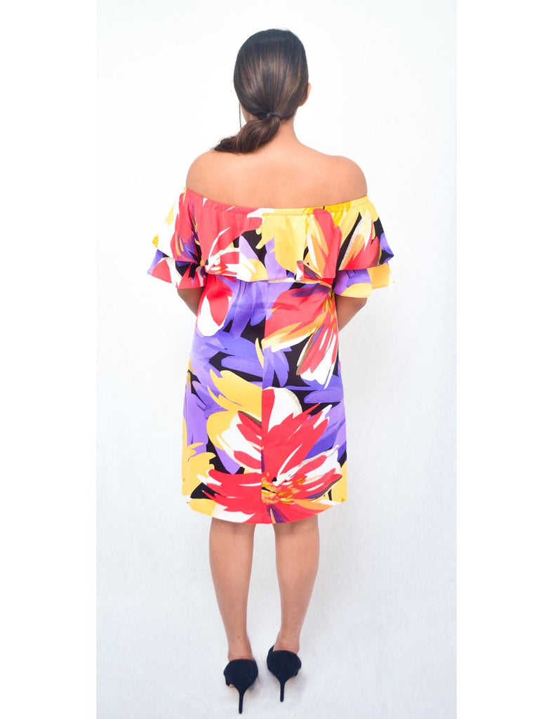 Tropical Reds Off Shoulder Dress