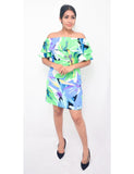 Tropical Greens Off Shoulder Dress
