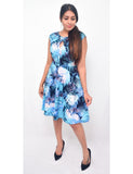 Blue Floral Printed Dress