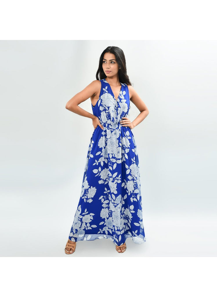 Natalia Blue and White Floral Dress