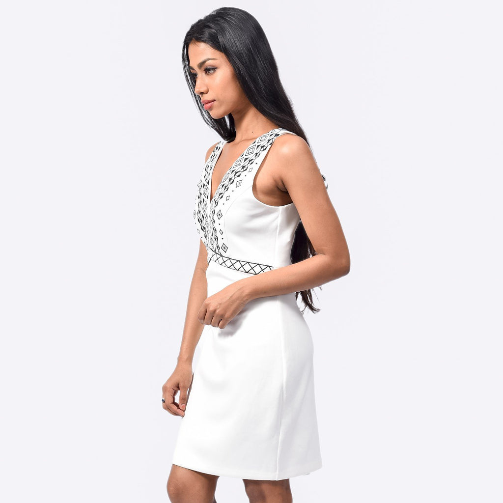 White Vneck Dress