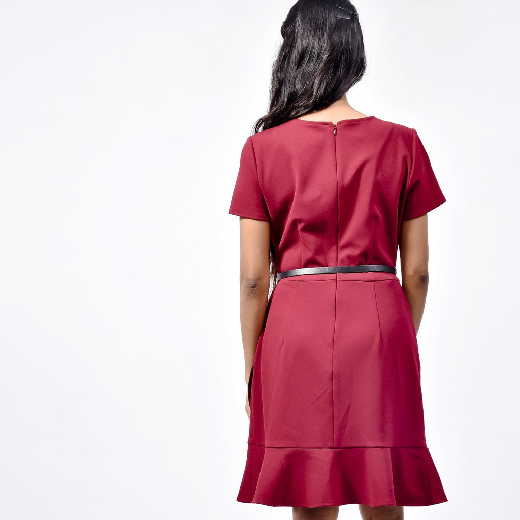 Maroon Office Dress