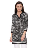 Black And White Geometric Print Tunic