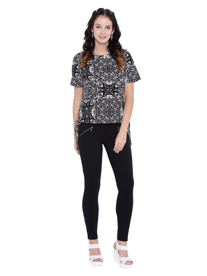 Black And White Printed crepe blouse
