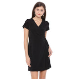 Black Mock Wrap Dress