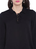 Black Shirt Collar Top