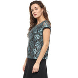 Blue Lace on Black Lining Top