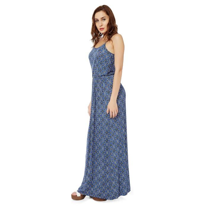 Blue Viscose Maxi Dress