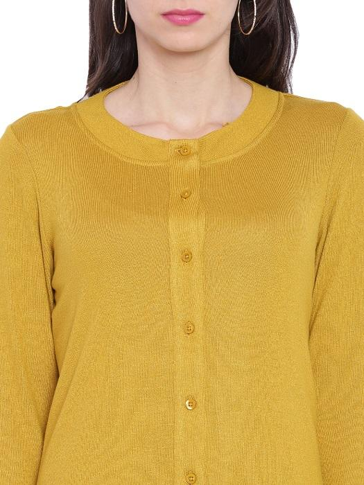 Mustard Long Sleeves Cardigan