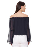 Navy Blue Off Shoulder Crop Top