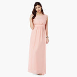 Peach Chiffon Maxi Dress